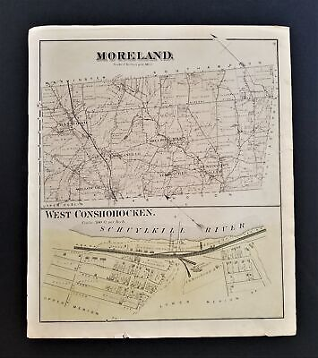1871 antique MORELAND West CONSHOCKEN montgomery co pa MAP from Atlas