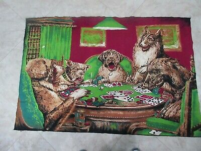 Vintage Tapestry Dogs Playing Poker Wall Hanging Decor Man Cave 4' X 32""