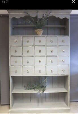 19th Century Painted Pine Dresser Cupboard With 20 Drawers And Original Glass