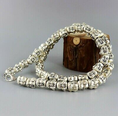Collect Old Miao Silver Hand-Carved Double Face Buddha Head Asian Necklace Gift