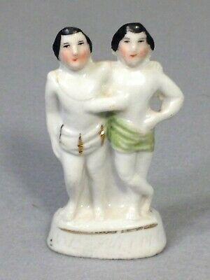 Antique 1860 CHANG & ENG Siamese Twins German Circus Carnival Porcelain Figurine