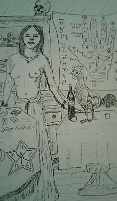 Original Pen And Ink Drawing New Orleans Voodoo, J Crow Smith Art