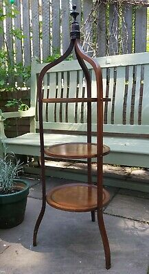 Antique Edwardian 3 Tier Mahogany Cake Stand, with box wood inlay. Original.