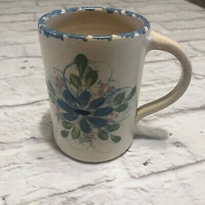"Floral Stoneware Mug Pottery Tall 5"" VTG Coffe Country"