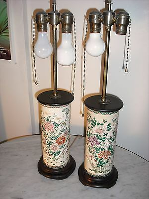 Pair of Kinkozan Satsuma Moriage earthenware vases/lamps