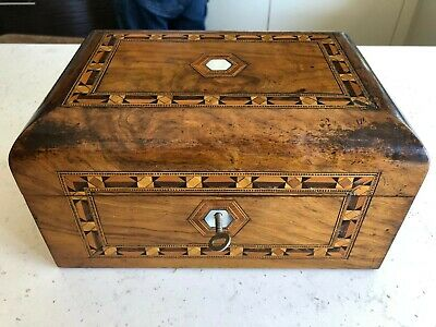 Antique Wooden Marquetry tea caddy with working lock and key, stunning