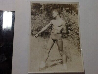 vintage Male semi Nude Original Young Man Pointing Gay Interest Photo 30s 5 X 7