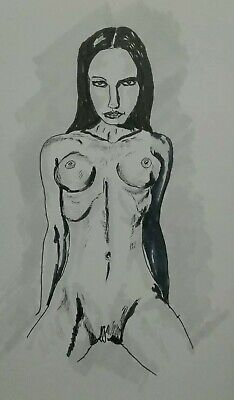Original Pen And Ink Drawing Nude Female Study, J Crow Smith Art