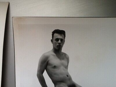 vintage Original 1960s nude young male Photo 5 X 7 Sitting on a Ladder