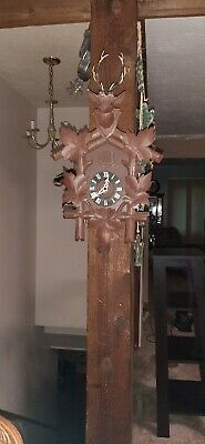 Antique Deer Head German Cuckoo Clock Hand Carved Black Forest WORKING!