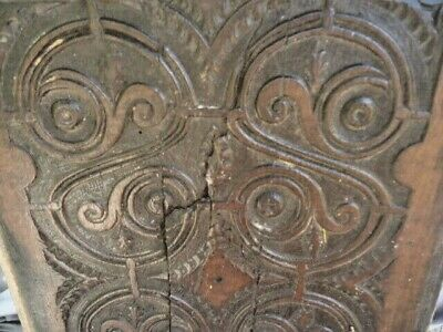 """17Th  Century Oak  """"S"""" Carved Panel Unusual (S) Carving"""