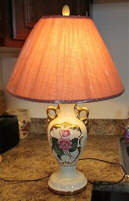 Vintage Porcelain Table Lamp Floral Pansies Gold Gilt Accents Pink Shade Tested