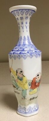 """Chinese Republic Period Painted Vase Paper Thin Porcelain 10.5"""""""