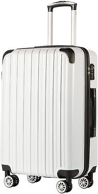 Coolife Luggage Suitcase PC+ABS Spinner Carry on White 20in