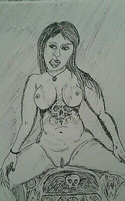 Original Pen And Ink Drawing  Goth Woman Nude Study, J Crow Smith Art