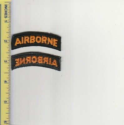 Original US Army Black Gold Airborne Tab Patch Cut Edge Old Stock