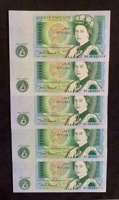 1981 5 x SOMERSET  £1 One Pound Notes Consecutive Pre-fix BX16  UNC B341  SN9667