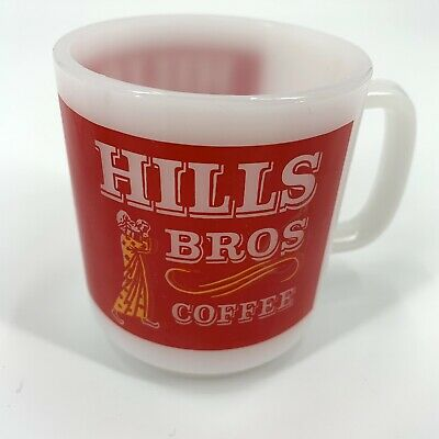RARE VINTAGE Hills Brothers Coffee Mugs Milk Glass Red White Set Of 4