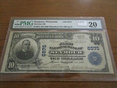 Large Size Wisconsin National Currency $10 Note 1st NB Of Seymour PMG 20