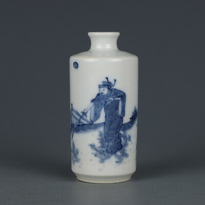 """3.5"""" Old kangxi marked blue and white Porcelain painting personage Snuff Bottle"""