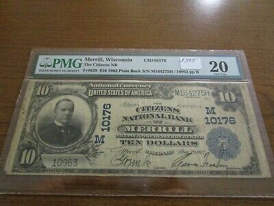 Large Size Wisconsin National Currency $10 Note Citizens NB Merrill PMG 20