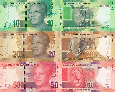 South Africa 3 Note Set: 10, 20 & 50 Rand (ND/2013) p-138a, p-139a, p-140a UNC
