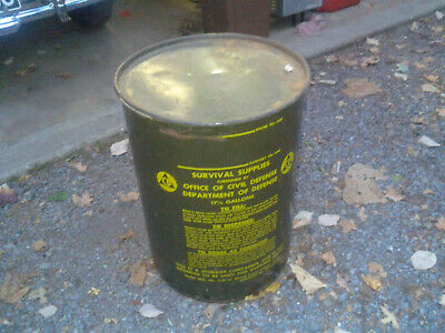 VINTAGE Survival Supplies Civil Defense 17-1/2 Gallon Water Can Latrine MAN CAVE
