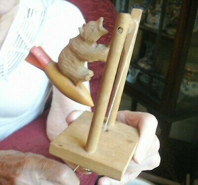 Old Vintage Russian Carved Wooden Bear Space Rocket Pull String Toy Black Forest