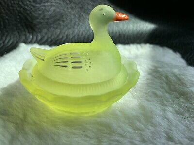 Vintage Glass Yellow Goose On Nest