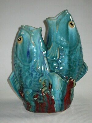 Vintage Chinese Flambe Glaze Ceramic Figural Statue of Two Jumping Koi Carp Fish