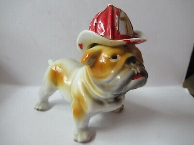 Vintage Ceramic Bulldog Statue With Fireman Hat #7