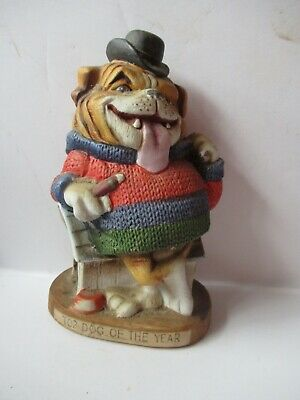 Vintage Ceramic Bulldog Statue Dirty Dogs Top Dog Of The Year Japan
