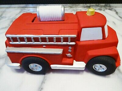 "Vtg Large PAINTED CERAMIC FIRE TRUCK BANK Red Toy Engine Hoses Ladder 10"" Long"