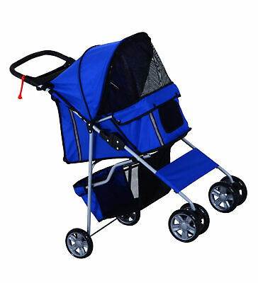 PawHut Pet 4 Wheels Travel Stroller Dog Cat Pushchair Trolley Puppy Jogger