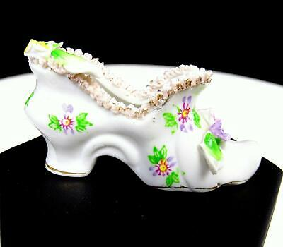 """Japanese Porcelain Victorian Style High Heel Laced Mini 3"""" Shoe"""