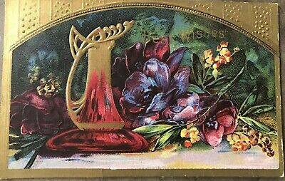 1913 Postcard Gold Ewer Best Wishes Floral Embossed Beautiful (G)