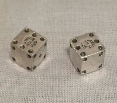 """Vintage Pair of MEXICO STERLING SILVER 925 DICE 8 Grams 1/2"""" Signed MLM"""
