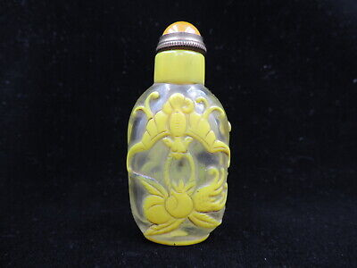 Chinese Peking Glass Snuff Bottle Carving Bat Pattern with Copper Spoon