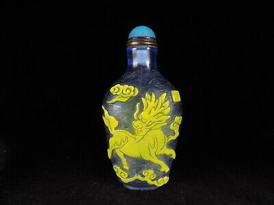 Chinese Peking Glass Snuff Bottle Carving Lucky 'QILIN'Lion Pattern Copper Spoon