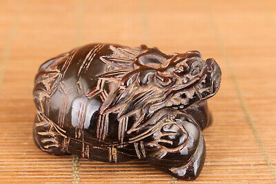 unique chinese old yak horn hand carved dragon tortoise statue figure noble gift