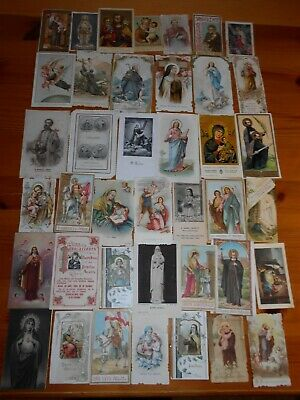 Lote de 40 estampas religiosas antiguas - Images pieuses, holy cards.