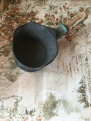 Antique Chinese Cast Metal Silk Iron With Wooden Handle