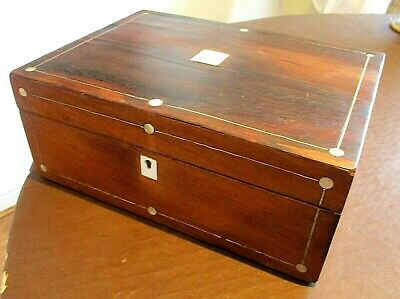 Victorian Rosewood Veneer Sewing/Jewellery Box,M.o.p.light Green Lined Interior.