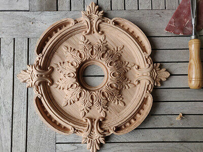 Ceiling Medallion Carved Oak Wood Rosette Architecture Ornament Moulding Element