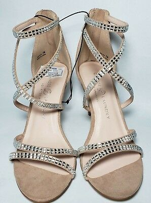 Chinese Laundry Women Nude Silver Rhinestone Open Toe High Heel Shoes Size 7