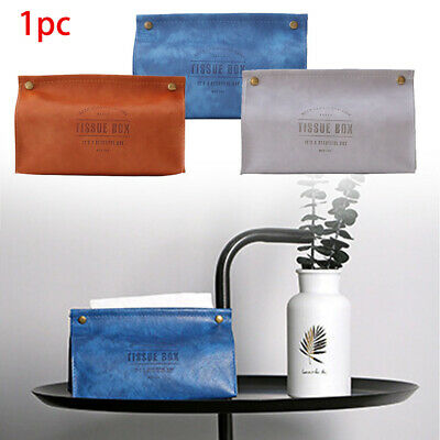 Soft Foldable PU Leather Restaurants Living Room Bedroom Tissue Box Letter Print