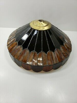 Vintage Tiffany Style Slag Stained Glass Lamp Shade or Ceiling Shade Amber Cream