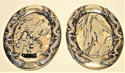 Antique Matching Pr Chinese Export Silver Picture Frames Dragons Yok Sang 1890