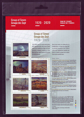 """CANADA 2020 Group of Seven 1920-2020 Sheet with 7 """"P"""" Paintings by Group MNH"""