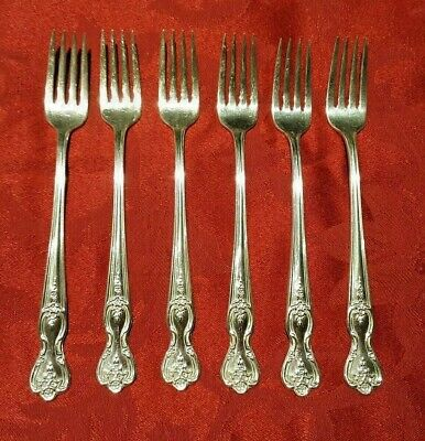 Wm Rogers Mfg  INSPIRATION – MAGNOLIA  Pattern  Silverplate  Grille Fork (6)